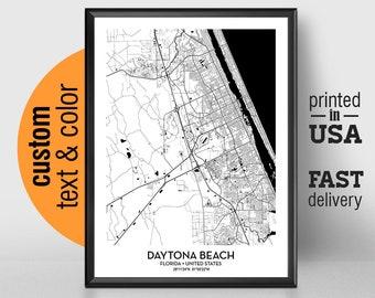 Daytona Beach Florida Map.Daytona Beach Map Etsy