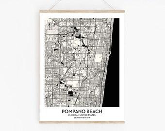 Pompano Beach FL City Map Poster Print Wall Art Decor