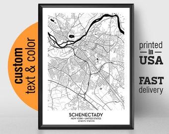 Schenectady New York Map.Schenectady City Map Etsy