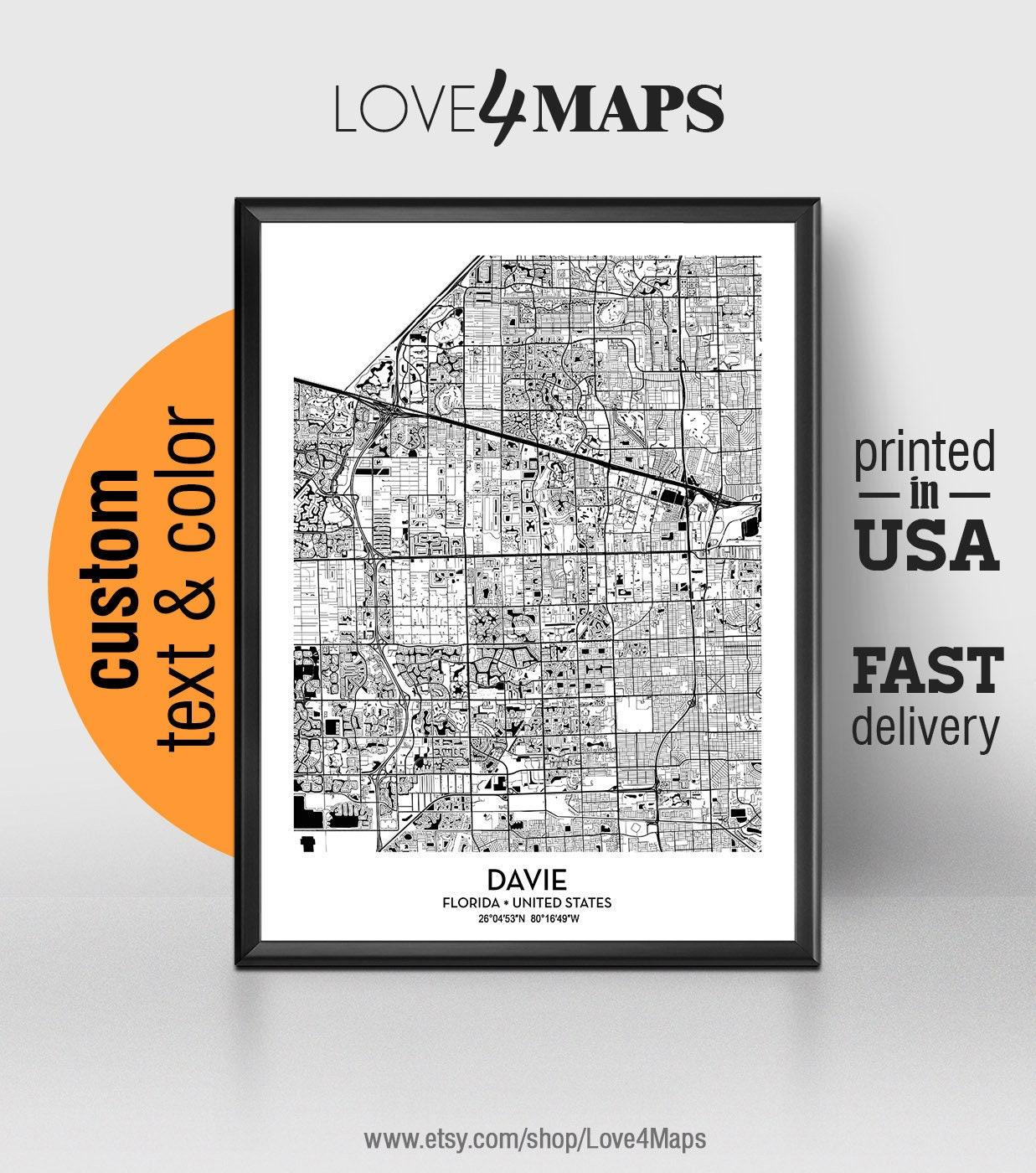 Davie Florida Map Davie City Print Davie Poster | Etsy on