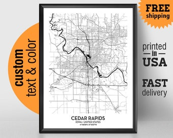 Cedar Rapids Iowa Map, Cedar Rapids City Print Poster, Coe College, Personalized Wedding Map Art Gift For Couple, Custom city map