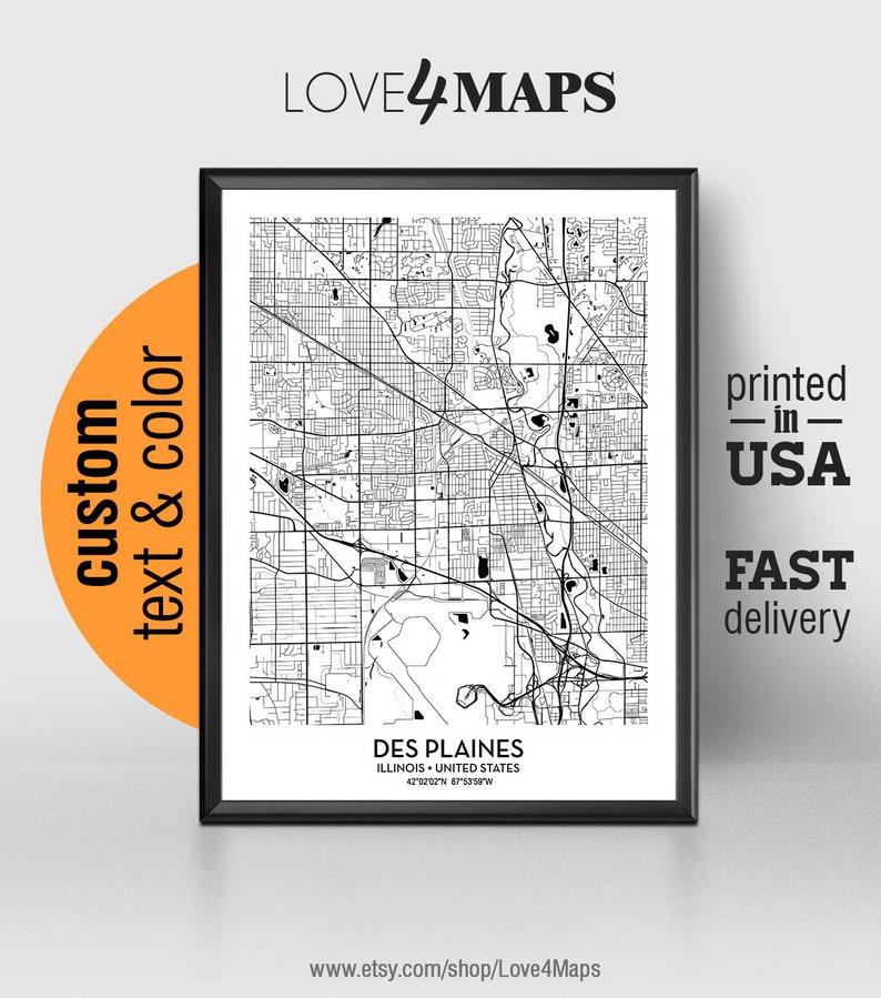 Des Plaines Illinois Map, Des Plaines City Print, Des Plaines Poster,  Personalized Wedding Map Art, Gift For Couple, Custom city map
