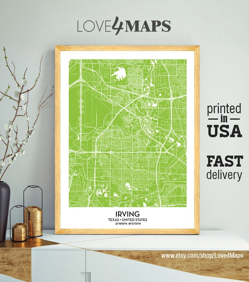 Irving Map Irving City Print Irving Texas Poster   Etsy on