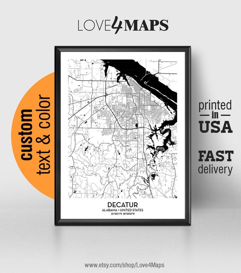 Decatur Alabama Map Decatur City Print Decatur Poster | Etsy
