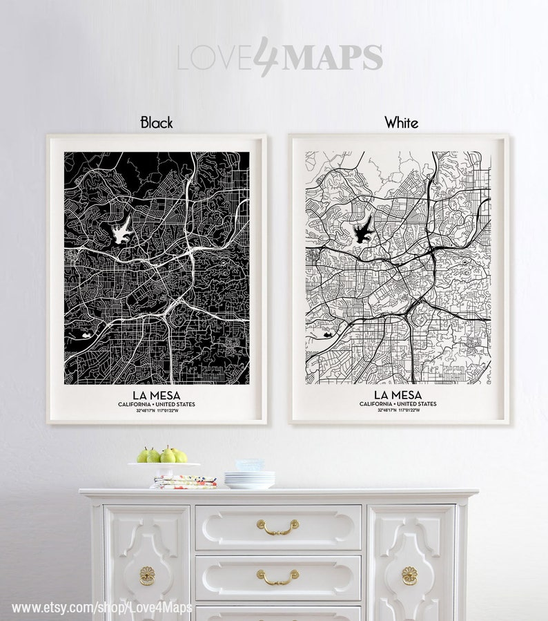 La Mesa California Map La Mesa City Print La Mesa Poster Etsy