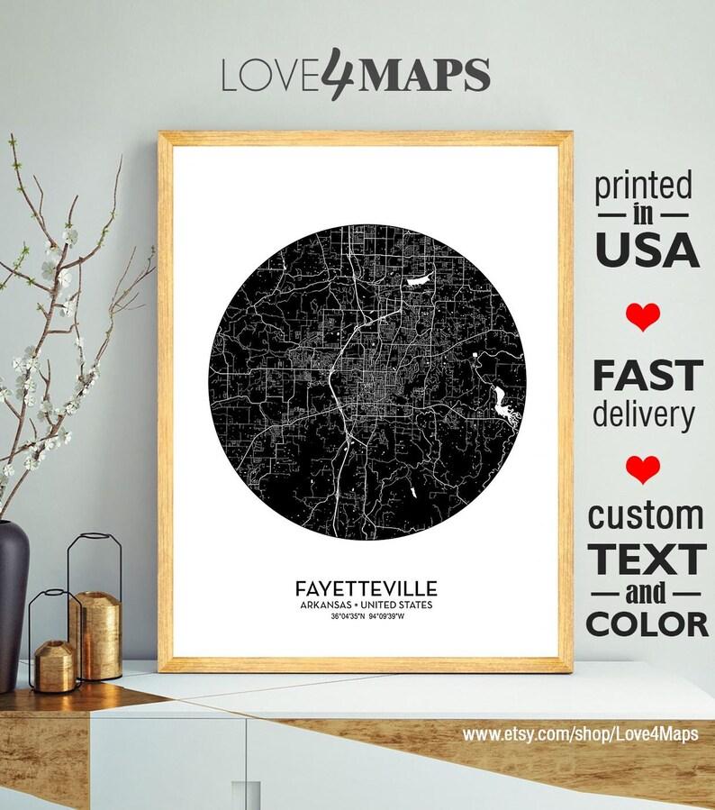 Custom city Fayetteville Map University of Arkansas Personalized Wedding Map Art Gift For Couple Fayetteville City Arkansas Print Poster