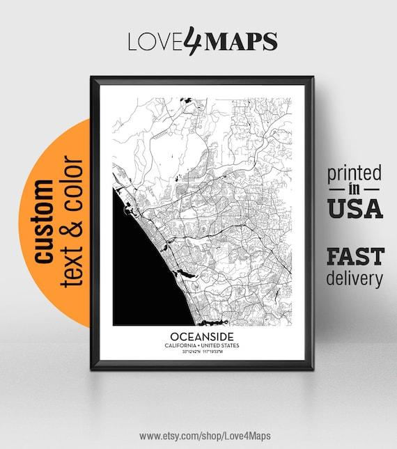 Oceanside California Map, Oceanside City Print, Oceanside Poster,  Personalized Wedding Map Art Gift For Couple, Custom city map