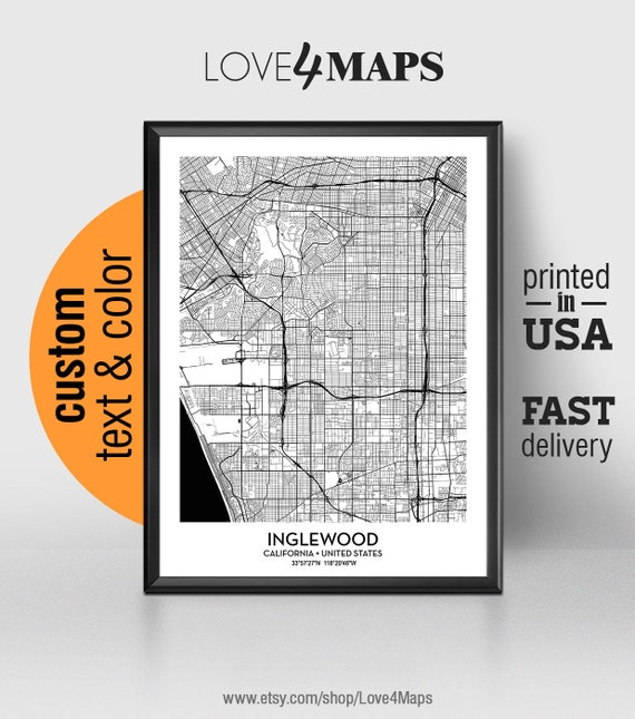 Inglewood California Map, Inglewood City Print, Inglewood Poster,  Personalized Wedding Map Art Gift For Couple, Custom city map