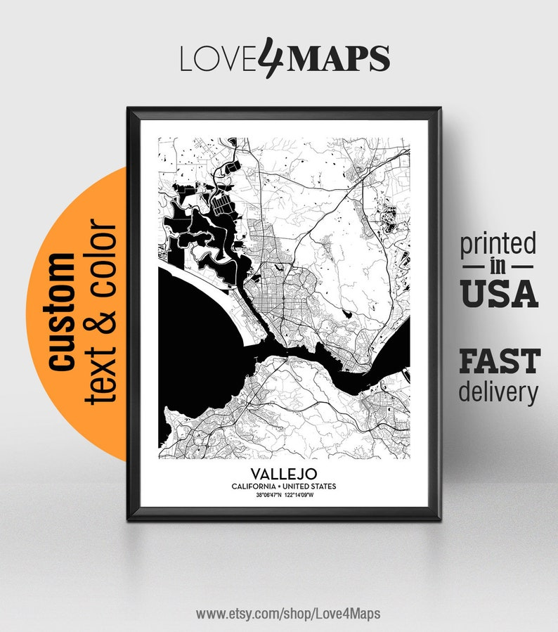 Vallejo California Map, Vallejo City Print, Vallejo Poster, Personalized  Wedding Map Art Gift For Couple, Custom city map