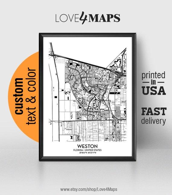 Weston Florida Map.Weston Florida Map Weston City Print Weston Poster Etsy
