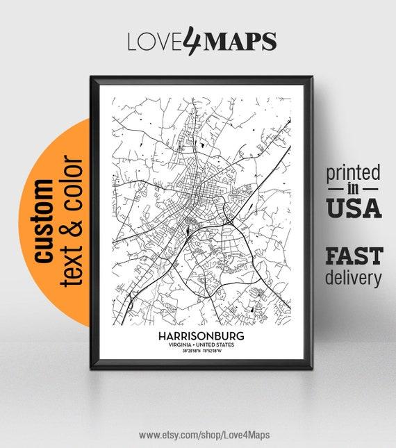 Harrisonburg Virginia Map Harrisonburg City Print Etsy