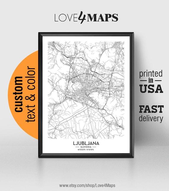 Ljubljana Slovenia Map Print