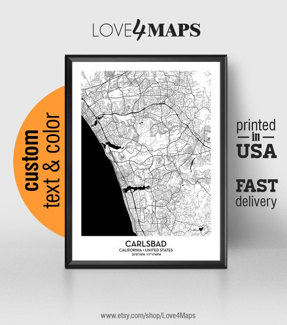 Carlsbad California Zip Code Map.Carlsbad California Map Carlsbad City Print Carlsbad Poster Etsy