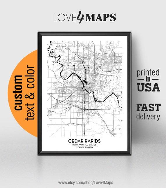 Hiawatha Iowa Map.Cedar Rapids Iowa Map Cedar Rapids City Print Poster Coe Etsy