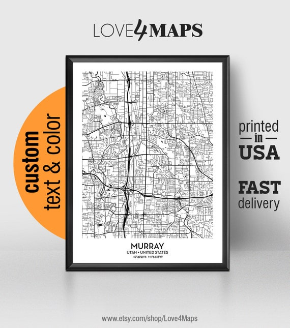 Murray Utah Map Murray City Print Murray Poster Etsy