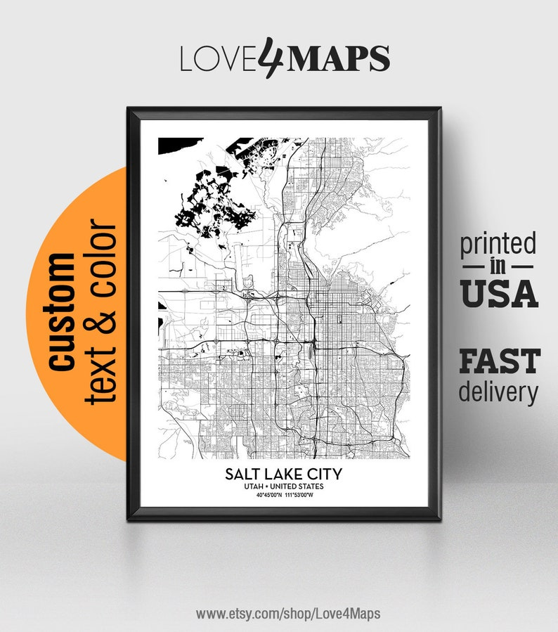Salt Lake City Utah Map Salt Lake City Print Salt Lake City Etsy