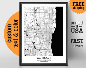 Waukegan Illinois Map, Waukegan City Print, Waukegan Poster, Personalized Wedding Map Art Gift For Couple, Custom city map