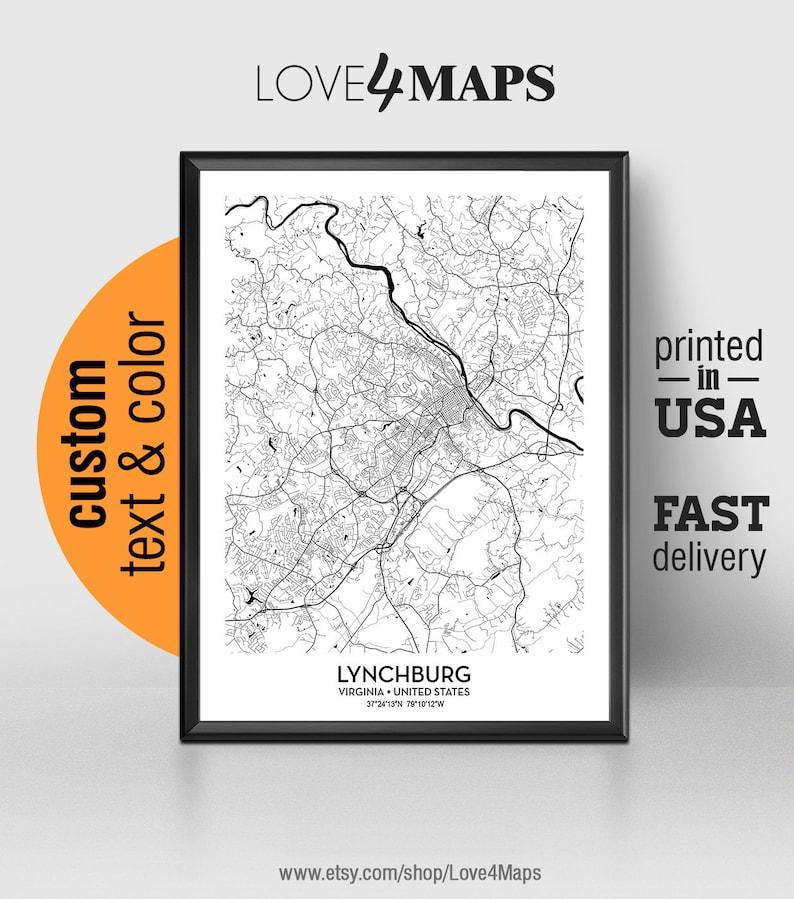 Lynchburg Virginia Map, Lynchburg City Print, Lynchburg College Poster,  Personalized Wedding Map Art Gift For Couple, Custom city map