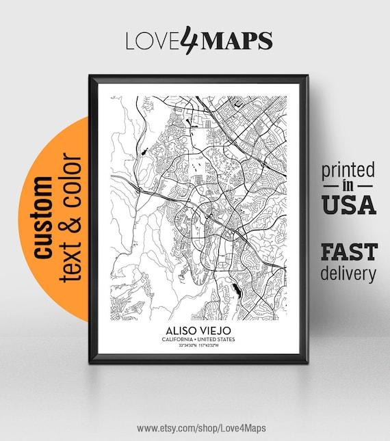 Aliso Viejo California Map, Aliso Viejo City Print, Aliso Viejo Poster, on starling street aliso viejo california, map of aliso vallejo ca, map of lakeville minnesota,