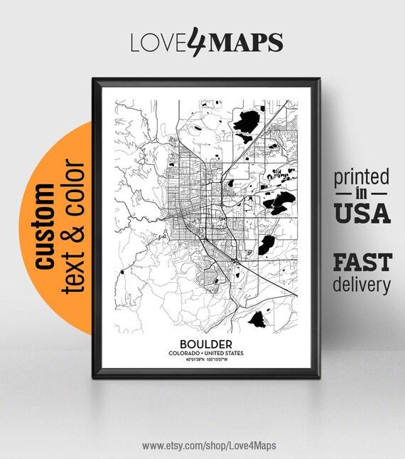 Boulder Colorado Map Boulder City Print Boulder Poster Etsy