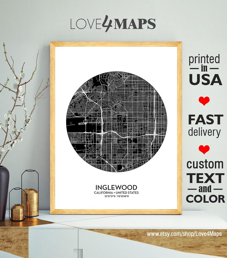 Inglewood Map Print Poster, Inglewood City California Print, Personalized  Wedding Map Art Gift For Couple, Custom city map