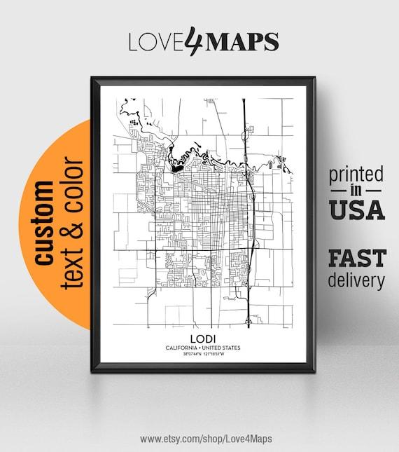 Lodi California Map Lodi City Print Lodi Poster Etsy