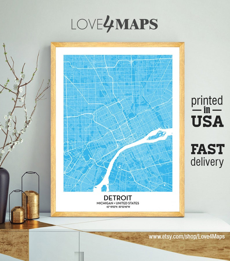 Detroit Michigan Map, Custom color map, City Print, Detroit Poster,  Personalized Wedding Map Art Gift For Couple