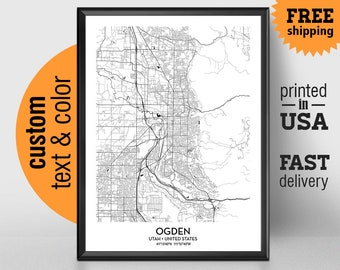 Ogden Utah Map, Ogden City Print, Ogden Poster, Personalized Wedding Map Art Gift For Couple, Custom city map