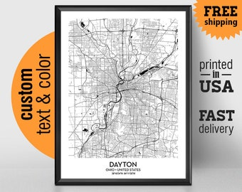 Dayton Ohio Map, Dayton City Print, Dayton Poster, Personalized Wedding Map Art Gift For Couple, Custom city map