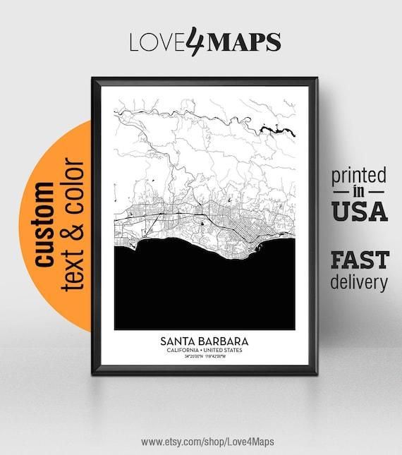 California Map City.Santa Barbara California Map Santa Barbara City Print Santa Etsy