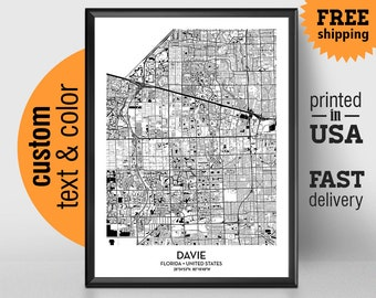 Davie map print Etsy