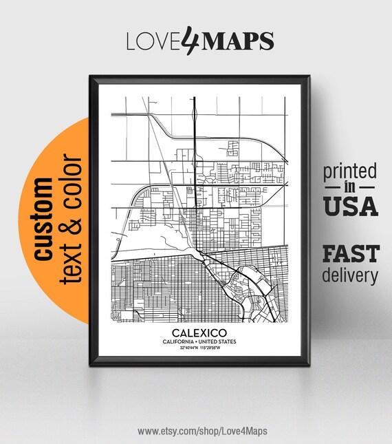 Calexico California Map Calexico City Print Calexico Poster Etsy