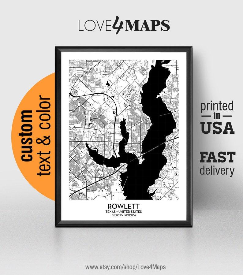 Rowlett Texas Map Rowlett City Print Rowlett Poster Personalized Wedding Map Art Gift For Couple Custom City Map
