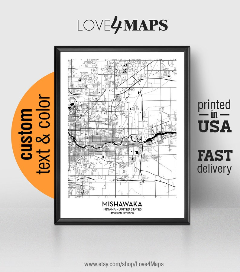 Mishawaka Indiana Map Mishawaka City Print Mishawaka Poster Etsy