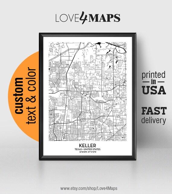Keller Texas Map Keller City Print Keller Poster Etsy