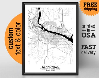 Kennewick Washington Map, Kennewick City Print, Kennewick Poster, Personalized Wedding Map Art Gift For Couple, Custom city map