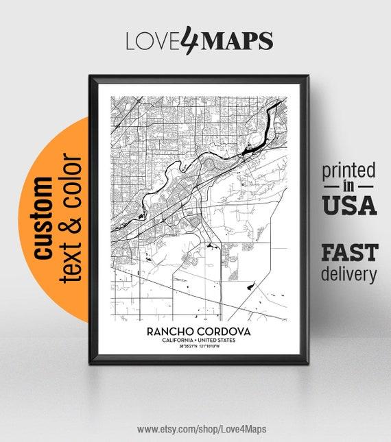 Rancho Cordova California Map.Rancho Cordova California Map Rancho Cordova City Print Etsy