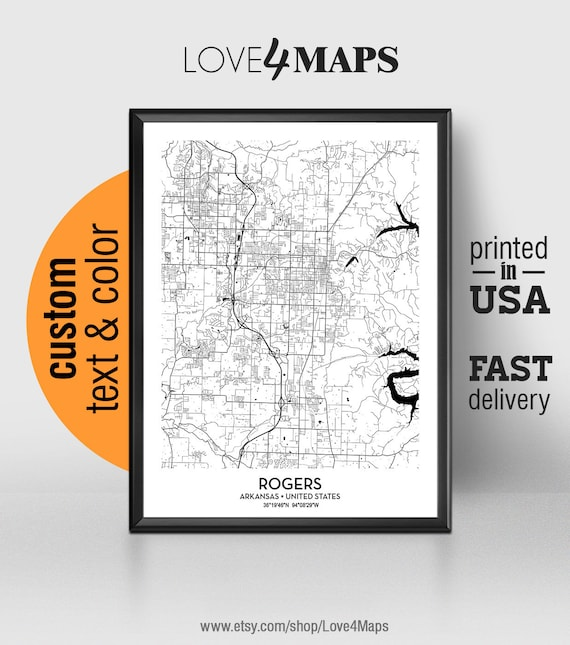 Rogers Arkansas Map, Rogers City Print, Rogers Poster, Personalized Wedding  Map Art, Gift For Couple, Custom city map