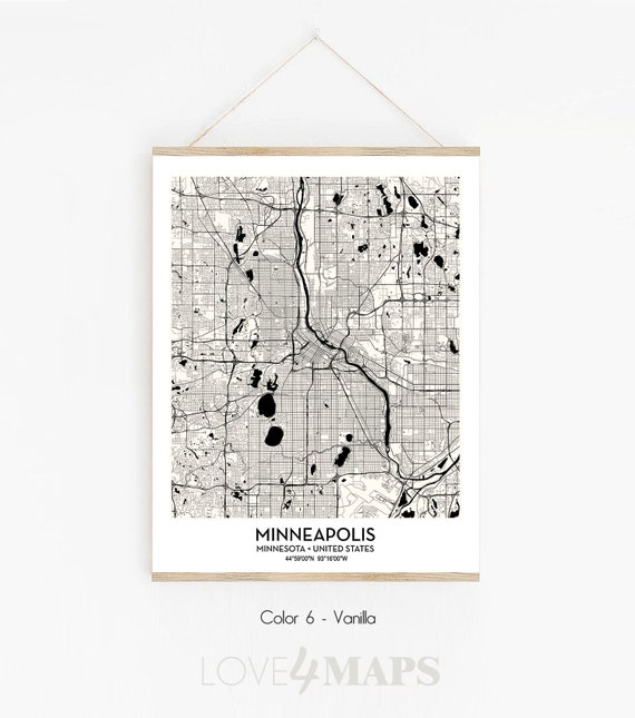 Minneapolis MN City Map poster print wall art decor   Minneapolis Minnesota  map   Scandinavian Nordic wall art   Modern Home Decor Gift