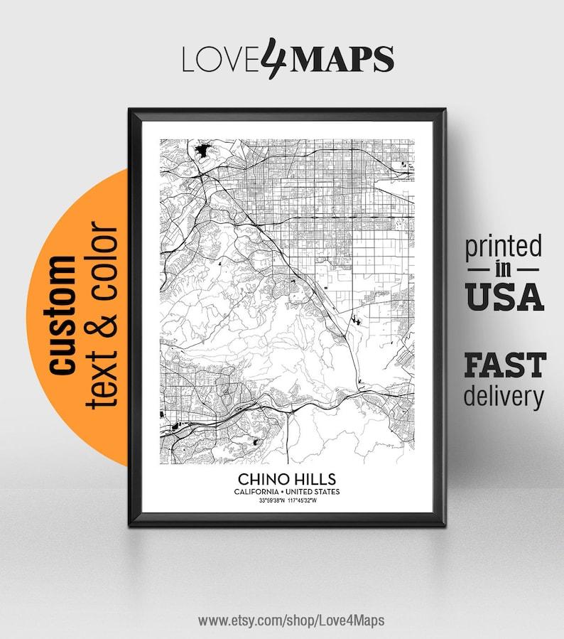 Chino Hills California Map Chino Hills City Print Chino Hills Poster Personalized Wedding Map Art Gift For Couple Custom City Map