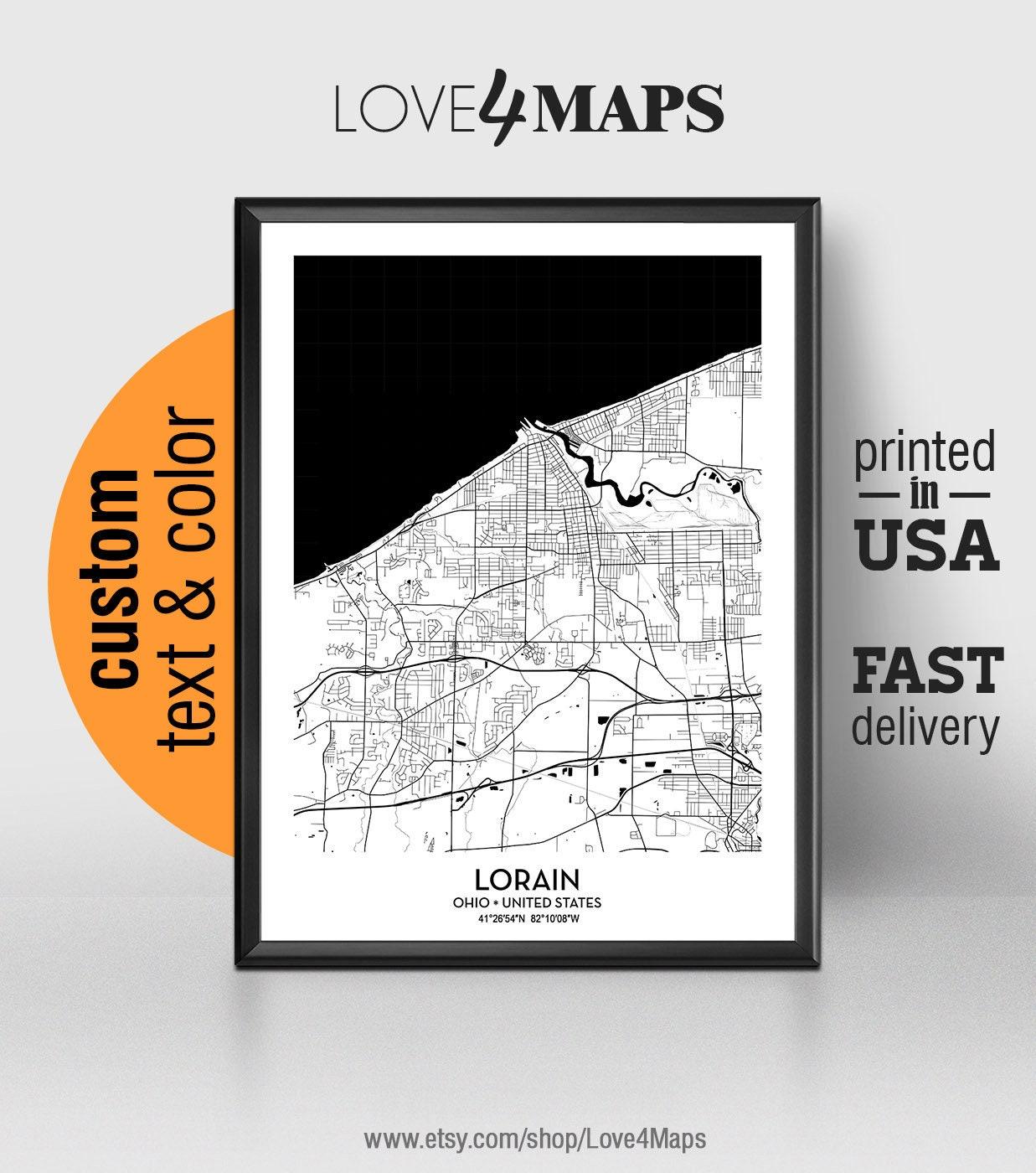 Lorain Ohio Map Lorain City Print Lorain Poster Etsy