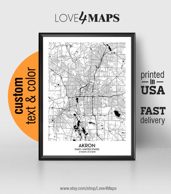 Akron Ohio Map Akron City Print Akron Poster Personalized Etsy