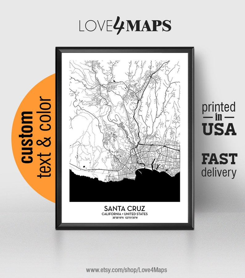 Santa Cruz California Map.Santa Cruz California Map Santa Cruz City Print Santa Cruz Poster Personalized Wedding Map Art Gift For Couple Custom City Map