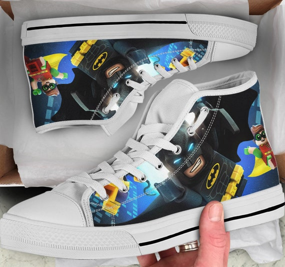 Gift Shoes Shoes Colorful her Men's Tops like him high Sneakers sneakers Tops Shoes Lego High Women's for Converse Batman Looks qawg44