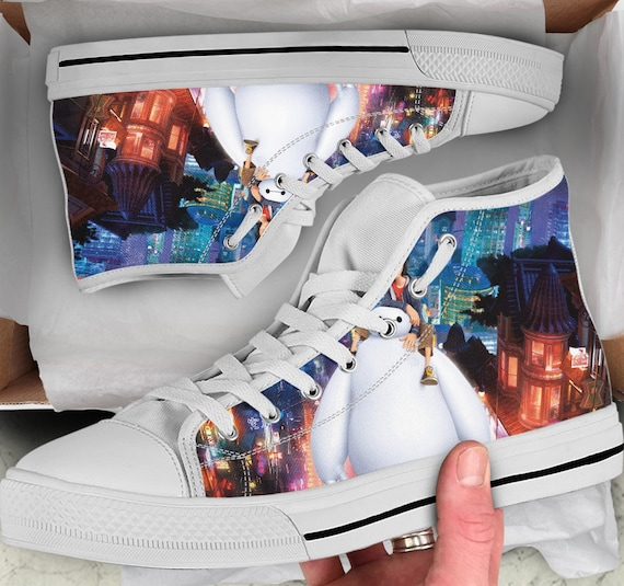 Looks Sneakers Shoes Men's Baymax Tops Shoes Top Converse High 6 sneakers Women's Baymax Shoes like Colorful Big Hero high qwa1HcF