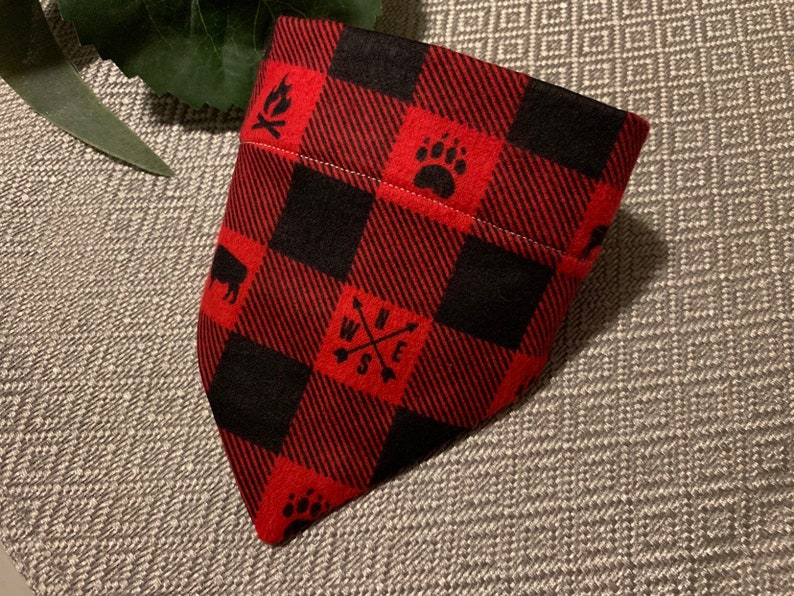 Buffalo Plaid Tie On Dog Bandana  Pet Bandana  Dog Scarf  Pet Scarf  Pet Apparel