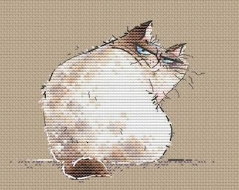 Grumpy Thai Cat pdf counted Cross Stitch Pattern instant download big boss cross stitch chart by SVStitch