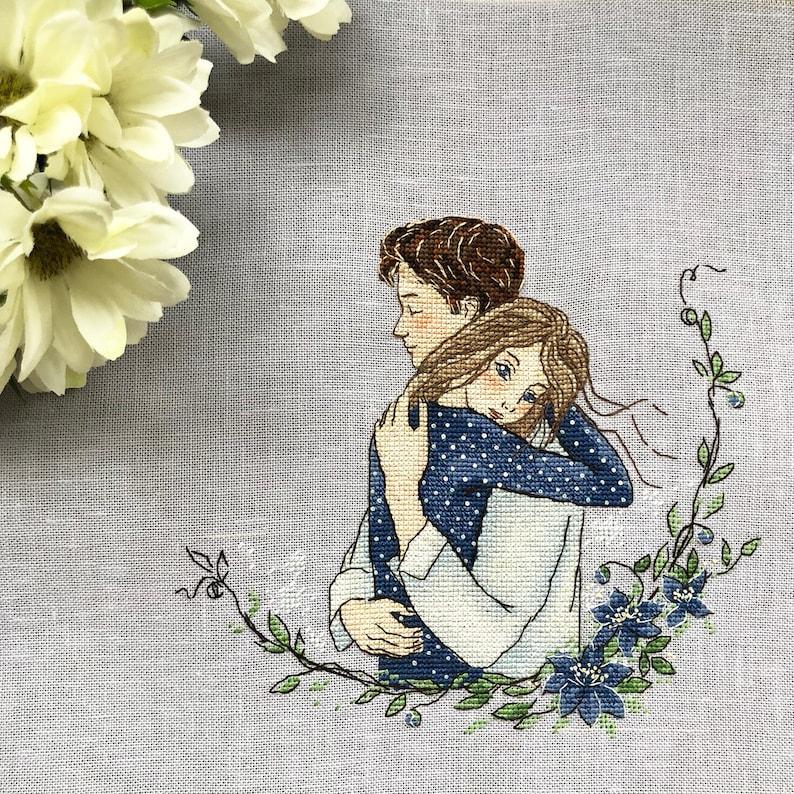 Wedding cross stitch pattern boy and girl cross stitch pattern love couple cross stitch wedding gift cross stitch cuddle cross stitch