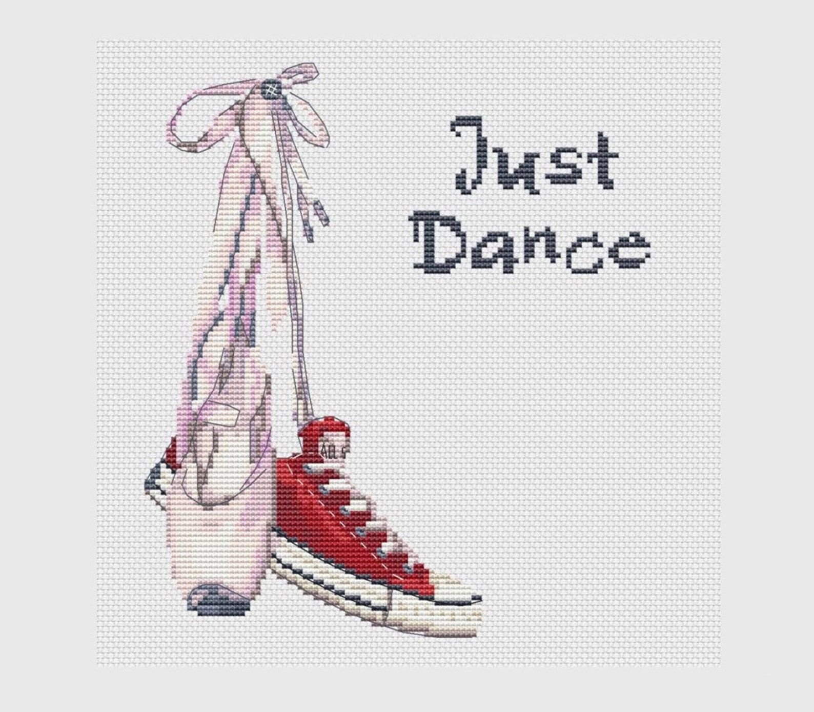 pair of shoes cross stitch pattern dance shoes instant download pdf ballet shoes cross stitch gift for dancer converse cross sti