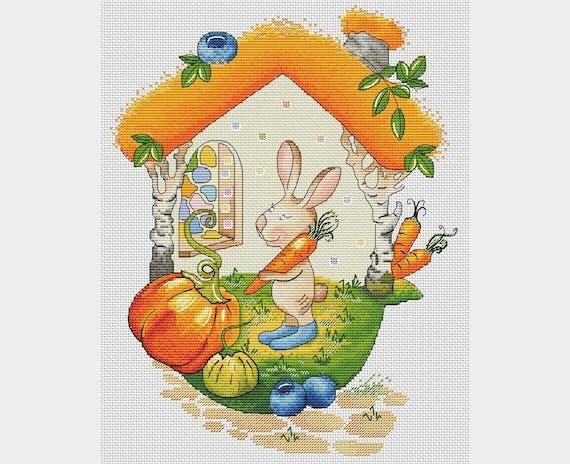 Bunny with carrot cross stitch pattern home of bunny cross stitch carrot cross stitch baby bunny cross stitch nursery decor rabbit pdf